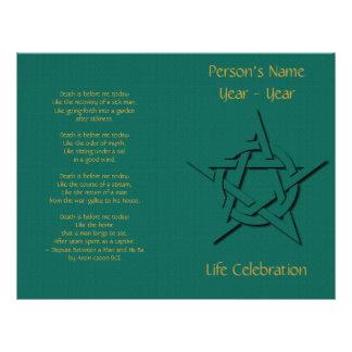 Green Pentacle Wiccan Funeral Program Flyer Design