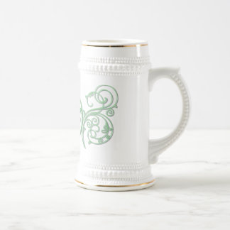Green pentacle with flourishes beer stein