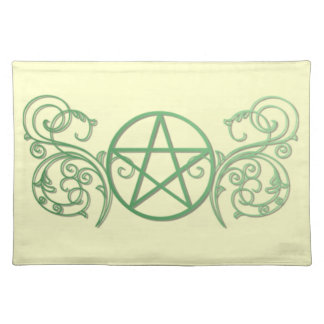 Green pentacle with flourishes cloth placemat