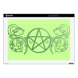 Green pentacle with flourishes decal for laptop