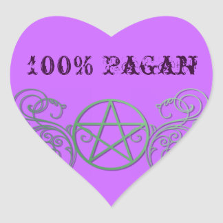 Green pentacle with flourishes heart sticker