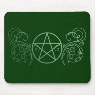 Green pentacle with flourishes mouse pad