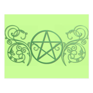 Green pentacle with flourishes postcard