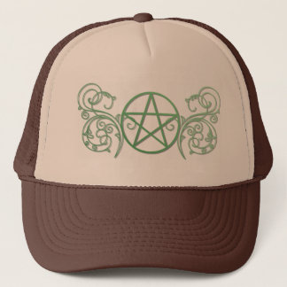 Green pentacle with flourishes trucker hat