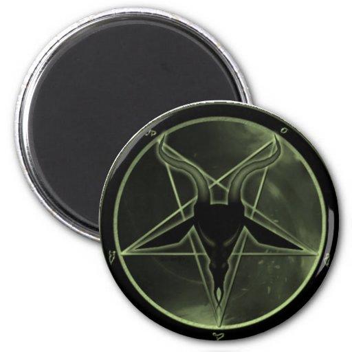 Green Pentagram 2 Inch Round Magnet