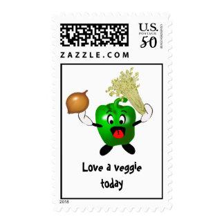 Green Pepper Cartoon Love a Veggie Today Postage