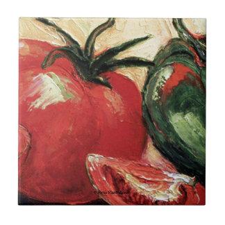 Green Pepper Tomato Ceramic Tile