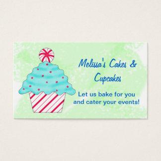 Green Peppermint Chrismas Cupcake Baking Business Card