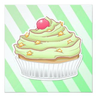 "Green peppermint striped cupcake 5.25"" square invitation card"