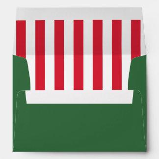 Green & Peppermint | Striped Liner | Christmas Envelope