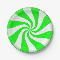 Green Peppermint Swirls Paper Plates