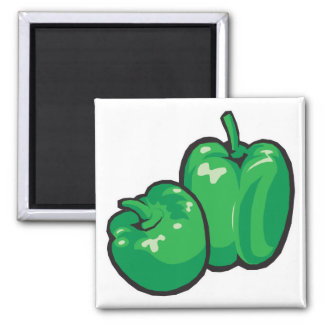 green peppers 2 inch square magnet