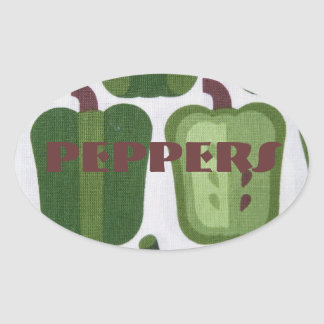 Green Peppers Canning Jar Label Custom Oval Stickers