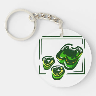 Green peppers cartoon in green square keychain