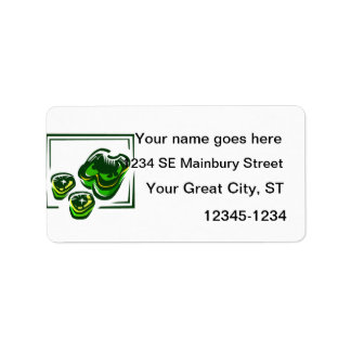Green peppers cartoon in green square labels