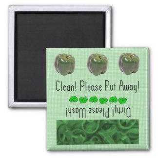 Green Peppers dishwasher magnet