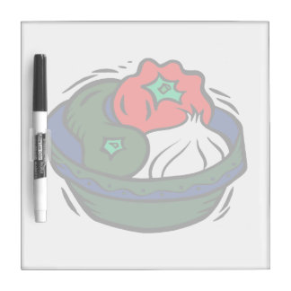 green Peppers garlic in blue bowl graphic Dry-Erase Board