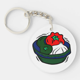 green Peppers garlic in blue bowl graphic Keychain