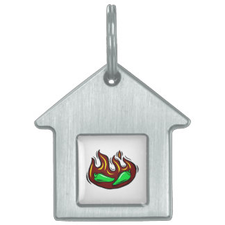 green peppers in flame graphic pet ID tag