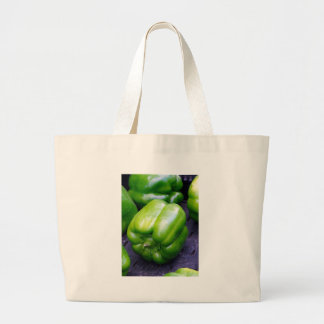 Green Peppers Large Tote Bag
