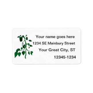 Green peppers on green plant graphic custom address labels