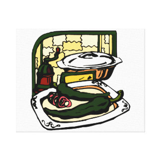 green Peppers pan grinder kitchen scene graphic Canvas Print