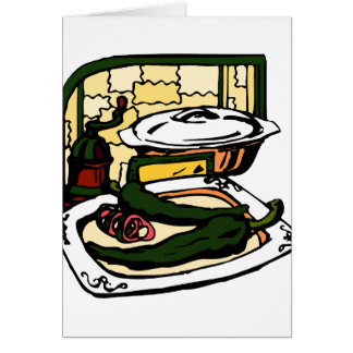 green Peppers pan grinder kitchen scene graphic Card