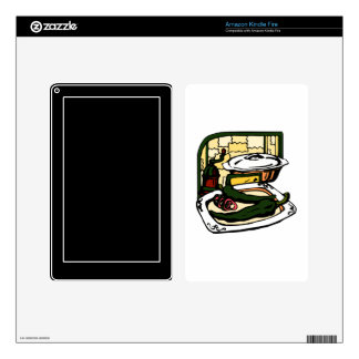 green Peppers pan grinder kitchen scene graphic Decals For Kindle Fire