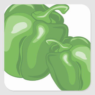 Green Peppers Square Sticker