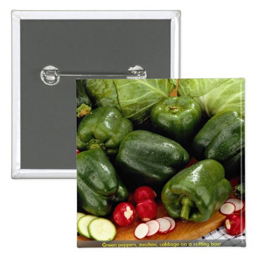 Green peppers, zucchini, cabbage on a cutting boar 2 inch square button
