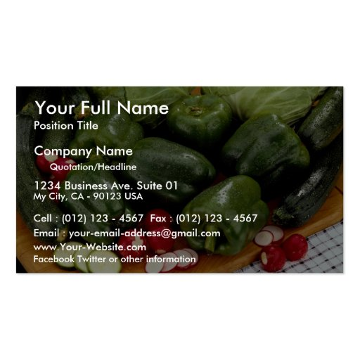 Green peppers, zucchini, cabbage on a cutting boar Double-Sided standard business cards (Pack of 100)