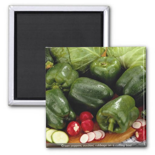 Green peppers, zucchini, cabbage on a cutting boar 2 inch square magnet