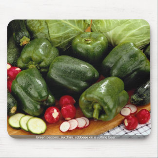 Green peppers, zucchini, cabbage on a cutting boar mouse pad