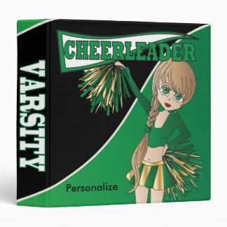 Green Personalize Diva Cheerleader 3 Ring Binder