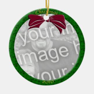 Green Personalize Photo Ornament