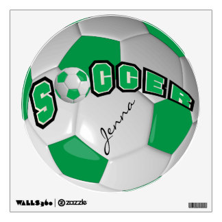 Green Personalize Soccer Ball Wall Graphics