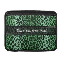 Green Personalized Leopard Animal Print MacBook Sleeve