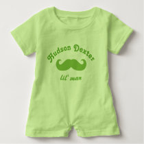 Green Personalized Lil' Man Mustache Baby Romper