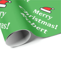 Green personalized Merry Christmas wrapping paper