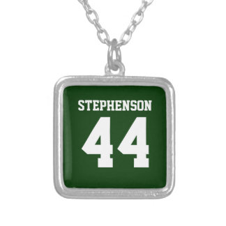 Green Personalized Sports Name Number Pendant