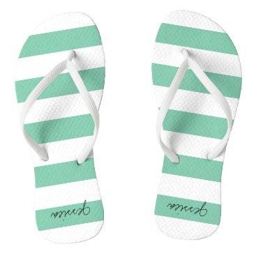 Beach Themed Green Personalized Stripe Thongs Flip Flops
