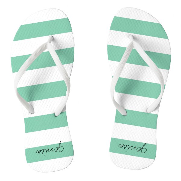 Green Personalized Stripe Thongs Flip Flops