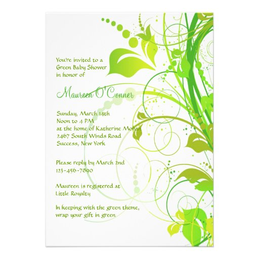Green Persuasion Baby Shower Invitation