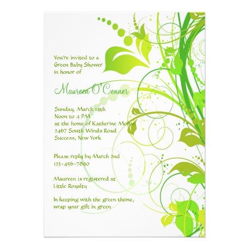 Green Persuasion Baby Shower Invitation