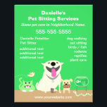 "Green Pet Sitter Promotional Flyer<br><div class=""desc"">Advertise your pet sitting services with this cute,  green flyer. Pet group includes a big dog,  small dog,  cat,  bird,  fish,  mouse,  and snake. For pet care providers who handle a variety of animals.</div>"