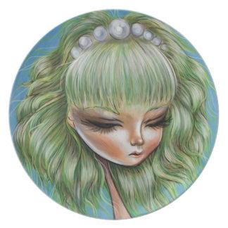 Green Petals Pretty Pop Surrealism Plate