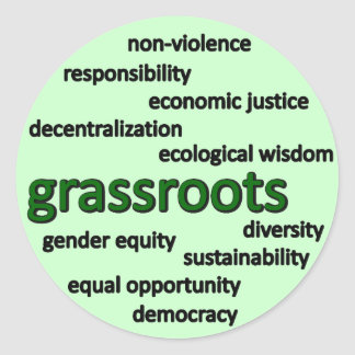 Green philosophy and values classic round sticker