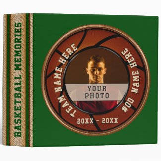 Green Photo Basketball Gifts Personalized Binder