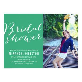Green Photo Bridal Shower Invitations