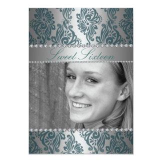 Green Photo Floral Print Sweet16 Birthday invite